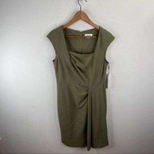 Calvin Klein Green Crepe Pleated Dress Size 8
